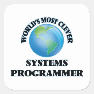 El programador más listo del mundo pegatina cuadrada