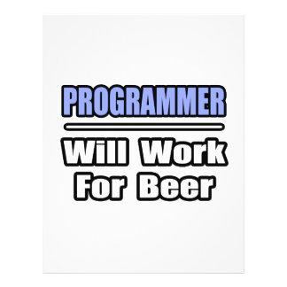El programador… trabajará para la cerveza tarjeta publicitaria
