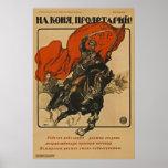 ¡El proletario consigue en su caballo! ~ Unión Sov Poster