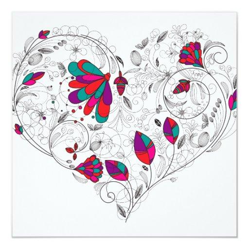 El promo del salón del corazón de la tarjeta del invitación 13,3 cm x 13,3cm