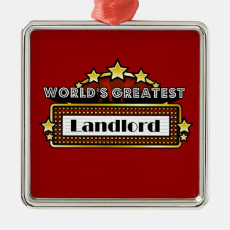 El propietario más grande del mundo adorno navideño cuadrado de metal