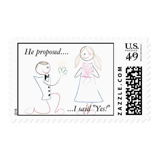 Él propuso. Dije sí. Sellos del boda