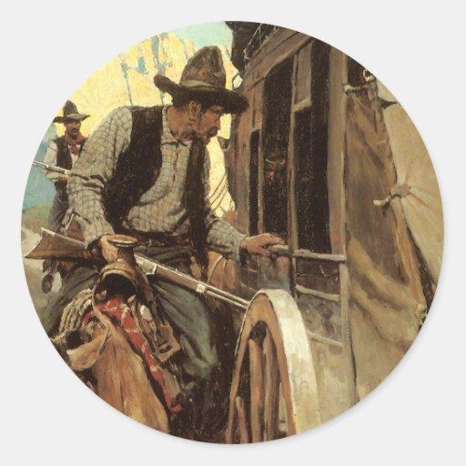 El proscrito admirable por NC Wyeth, vaqueros del Pegatina Redonda