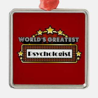 El psicólogo más grande del mundo adorno navideño cuadrado de metal