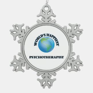 El psicoterapeuta más feliz del mundo adorno de peltre en forma de copo de nieve