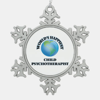El psicoterapeuta más feliz del niño del mundo adorno de peltre en forma de copo de nieve