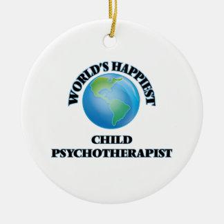 El psicoterapeuta más feliz del niño del mundo adorno redondo de cerámica