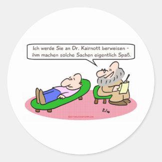 el psiquiatra se refiere goza de transla del pegatina redonda