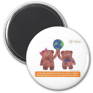 """El """"psoriasis puede ser un oso """" imán redondo 5 cm"""
