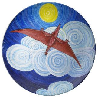 El Pterodactyl toma la placa del vuelo Platos De Cerámica