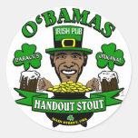 ¡El Pub irlandés 4 de Obama su fiesta social Pegatina Redonda