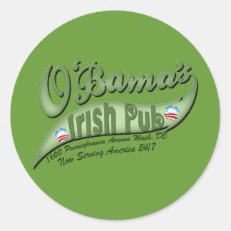 El Pub irlandés de O'bama Pegatina Redonda