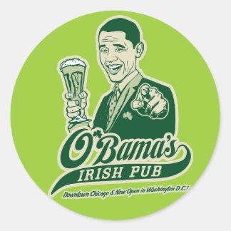 El Pub irlandés de Obama Pegatina Redonda