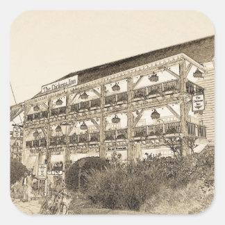 El Pub Londres del mesón de Dickens Calcomanía Cuadradas Personalizadas