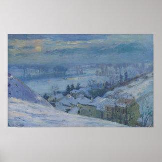 El pueblo de Herblay debajo de la nieve, 1895 Póster