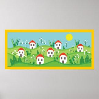 El pueblo de la primavera, tejado rojo contiene el poster