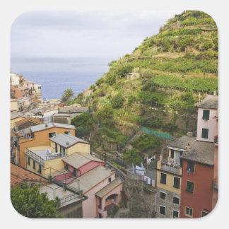 el pueblo de ladera de Manarola-Cinque Terre, Pegatina Cuadrada