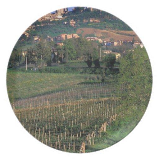 El pueblo de San Gimignano se sienta en el balance Plato De Comida