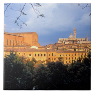 El pueblo toscano de la tierra de Siena, Italia Azulejo Cuadrado Grande