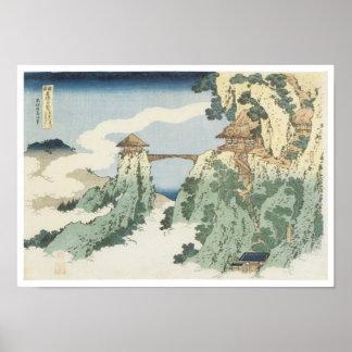 El puente colgante de la nube, Hokusai, 1834 Póster