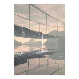 El puente con descensos del agua invitación 12,7 x 17,8 cm