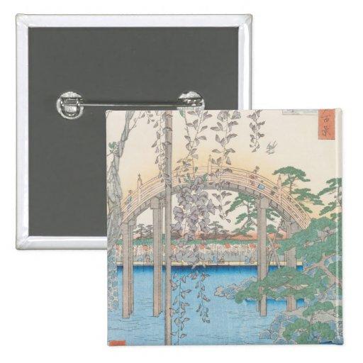 El puente con las glicinias o Kameido Tenjin Pin Cuadrado