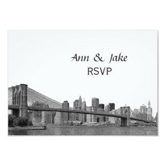 El puente de Bklyn del horizonte de NYC grabó al Invitación 8,9 X 12,7 Cm