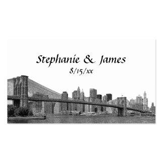 El puente de Bklyn del horizonte de NYC grabó al Plantilla De Tarjeta De Negocio