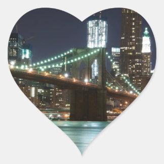 El puente de Brooklyn - color Pegatina En Forma De Corazón
