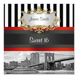 El puente de Brooklyn del horizonte de NYC, dulce Invitación 13,3 Cm X 13,3cm