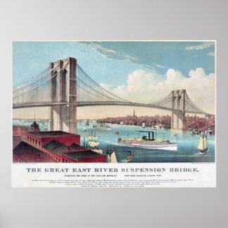 El puente de Brooklyn en New York City a partir de Poster