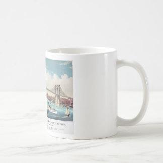 El puente de Brooklyn en New York City a partir de Taza De Café