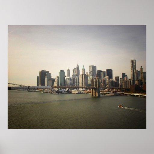 El puente de Brooklyn y horizonte de NYC, todos lo Poster