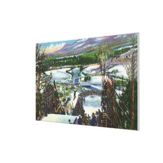 El puente de esquí saca de la colina olímpica del  impresión en lienzo