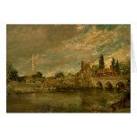 El puente de Harnham y de la catedral de Salisbury Tarjetón