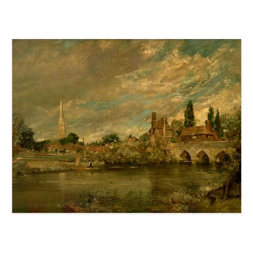 El puente de Harnham y de la catedral de Salisbury Tarjeta Postal