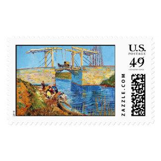 El puente de Langlois en Arles con lavarse de las Timbres Postales