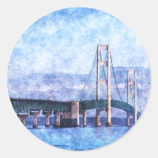 El puente de Mackinac Pegatina Redonda