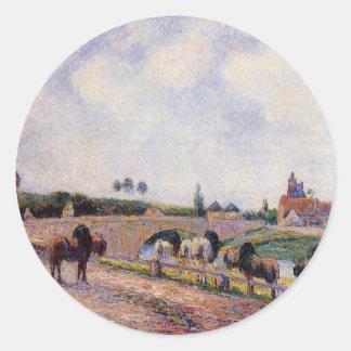 El puente de Pontoise de Camille Pissarro Pegatina Redonda