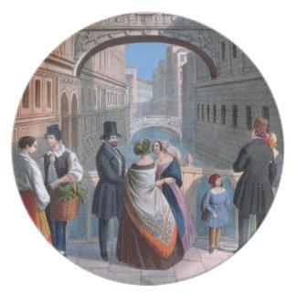 El puente de suspiros, Venecia, grabada por Brizeg Platos De Comidas