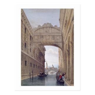 El puente de suspiros, Venecia, grabada por Postales