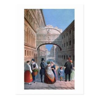 El puente de suspiros, Venecia, grabada por Postal