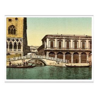 El puente de suspiros, vintage Photoch de Venecia, Postales