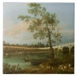 El puente de Walton viejo, 1755 (aceite en lona) Azulejo