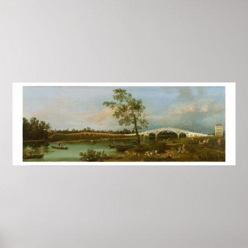 El puente de Walton viejo, 1755 (aceite en lona) Poster