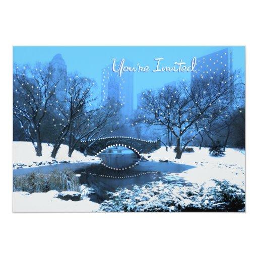 """El puente del Central Park en el crepúsculo en la Invitación 5"""" X 7"""""""