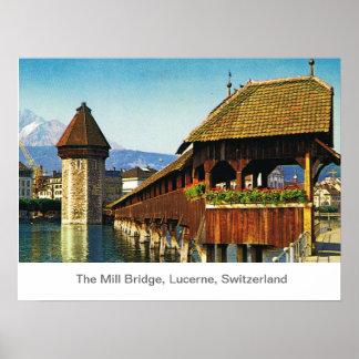El puente del molino, Alfalfa, Suiza Póster