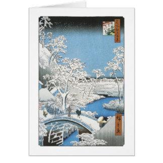 El puente del tambor, Hiroshige, 1856-58 Felicitación