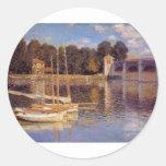 El puente en Argenteuil Claude Monet Pegatinas Redondas