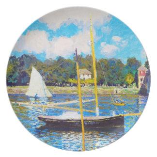 El puente en Argenteuil Claude Monet Platos